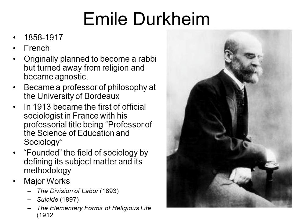 sociological theory proposed by emile durkheim the worlds first official sociologist