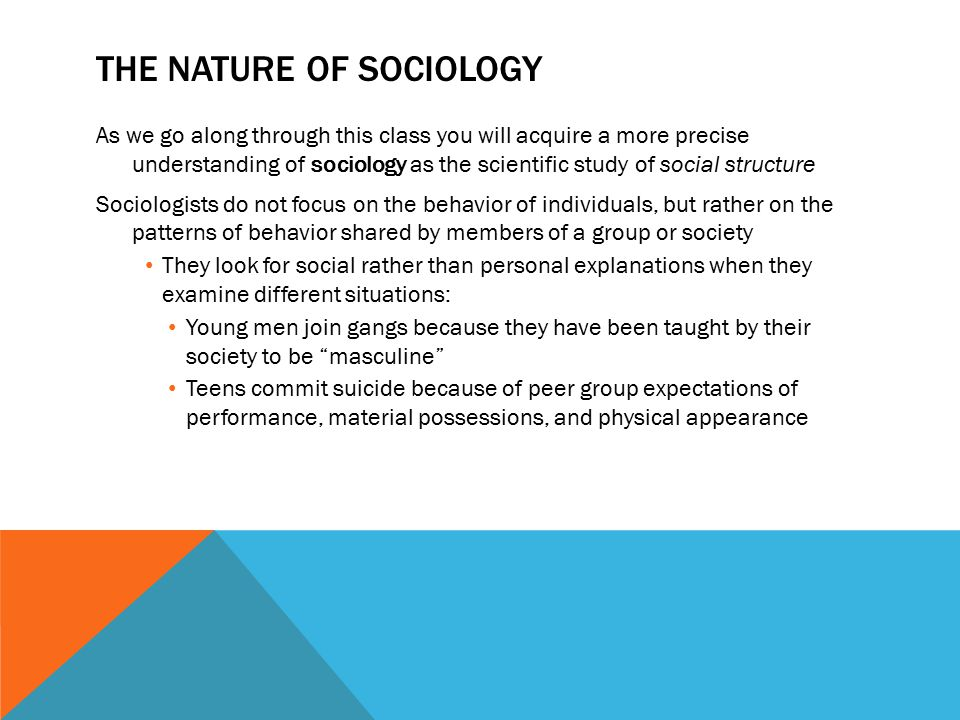 The nature and the subjects of sociology