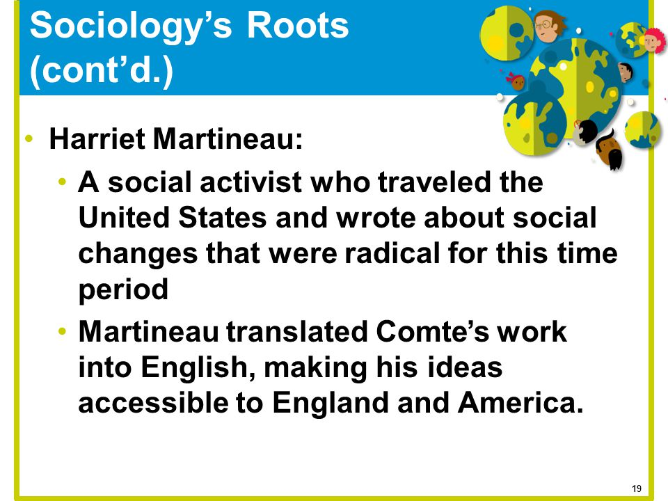 Sociology's Roots (cont'd.) Harriet Martineau: