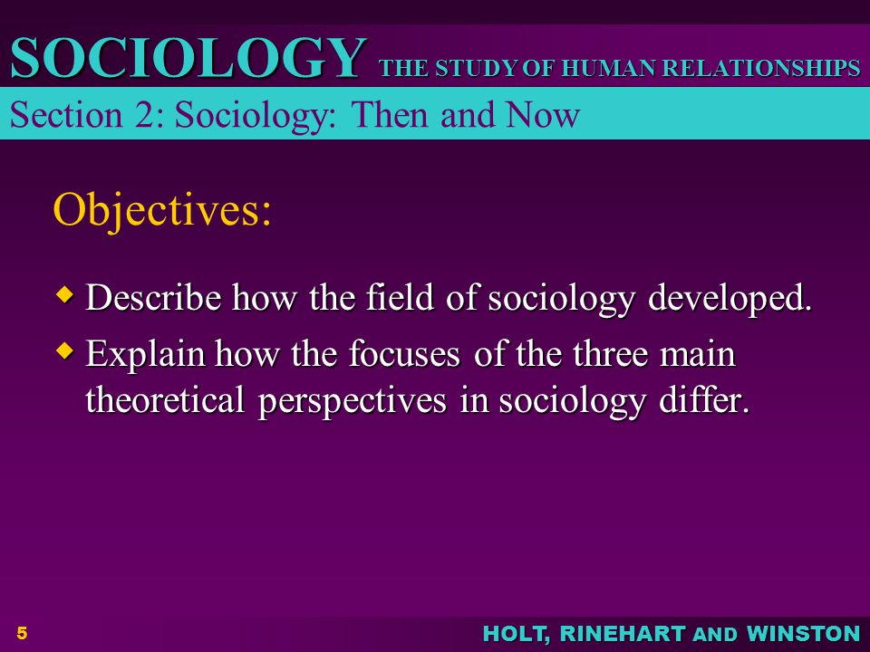 Objectives: Section 2: Sociology: Then and Now