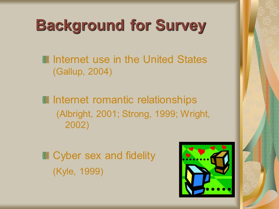 Background for Survey Internet use in the United States (Gallup, 2004)