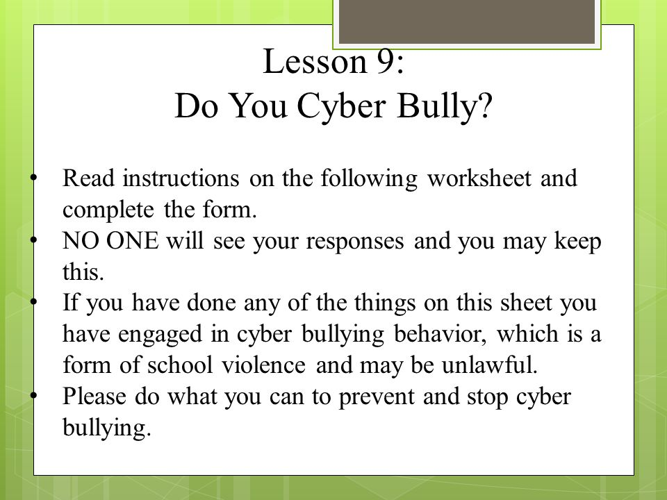 Bully Free Freshman Class Session 2 ppt download – Cyber Bullying Worksheets