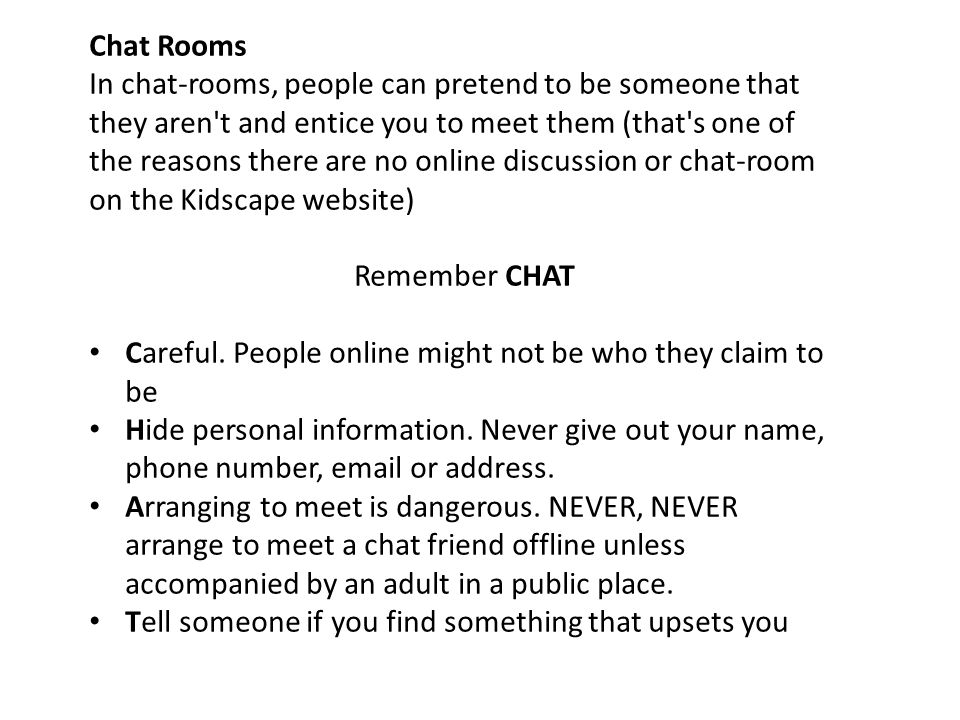 chat rooms are they safe essay With the dangers of internet chatrooms at the forefront of debate, peter palmer  finds that confused teenagers, faced with a new set of rules,.