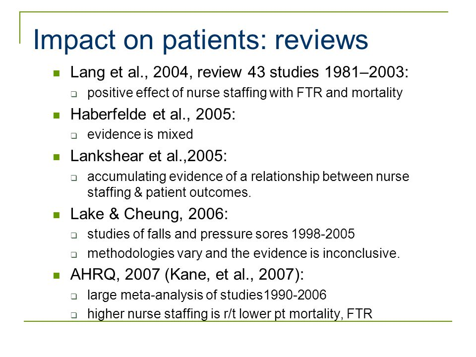 The impact of nurse staffing on