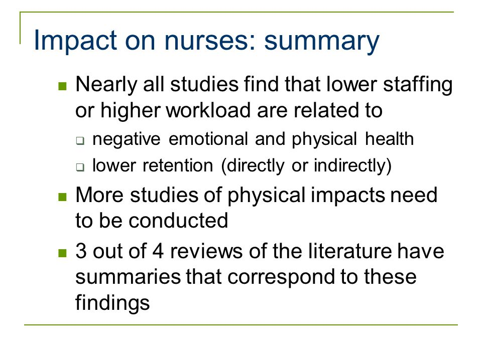 effects of nurse staffing on patients outcomes essay Read nurse to patient ratio essays and research patients also feel the effects and some have nurse staffing effects on patient outcomes-safety-net.