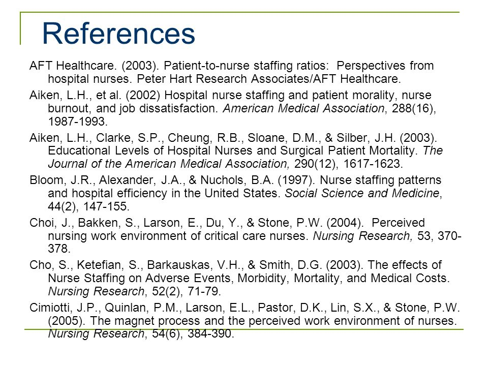 Nurse staffing and inpatient hospital mortality.