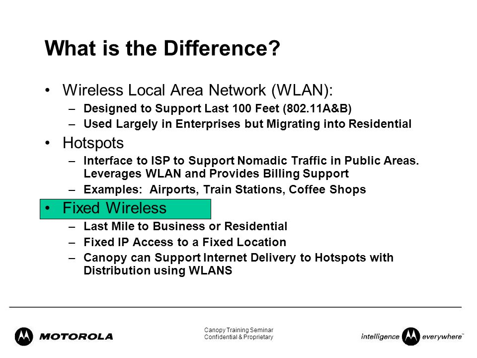 What is the Difference Wireless Local Area Network (WLAN) Hotspots  sc 1 st  SlidePlayer & Welcome to the Canopy Training Seminar!. - ppt download