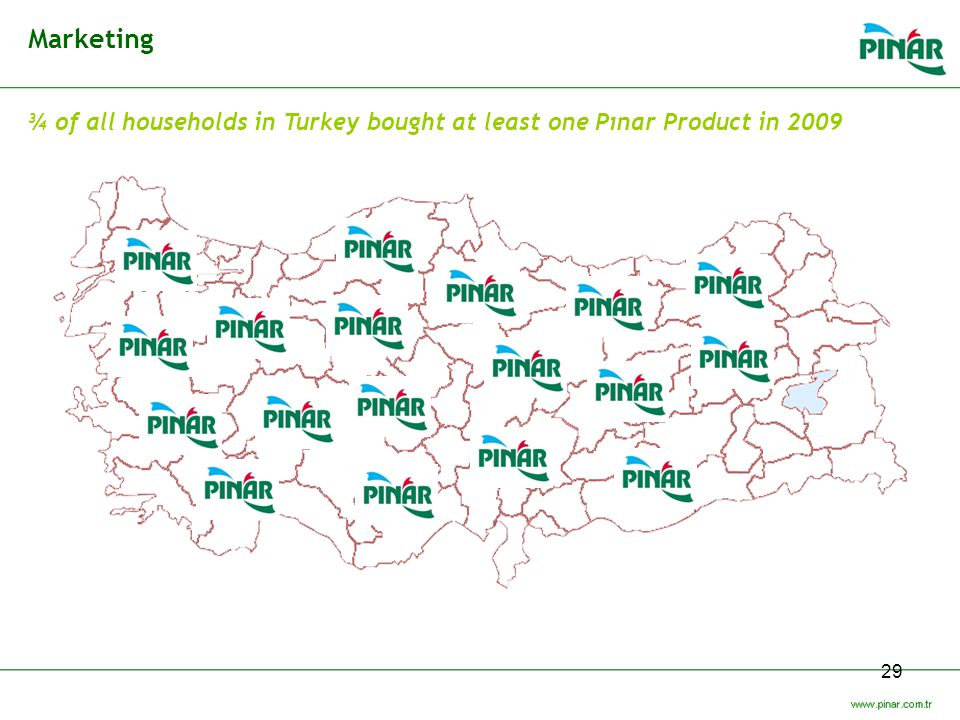 Marketing ¾ of all households in Turkey bought at least one Pınar Product in 2009