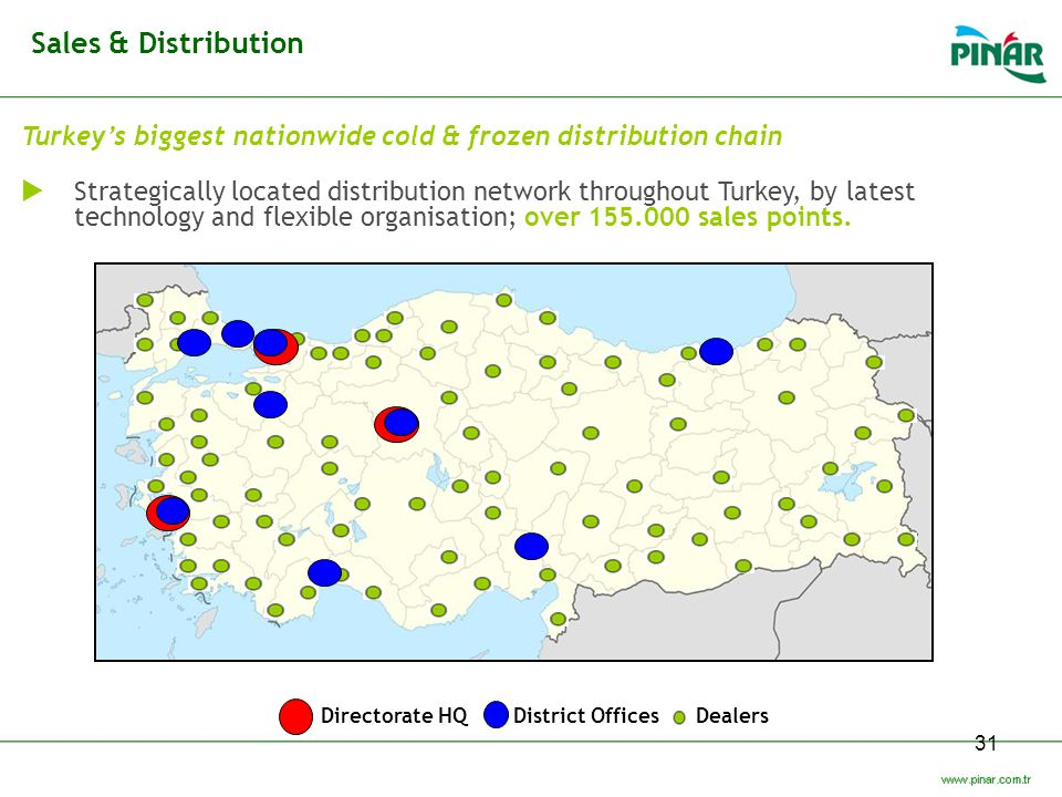 Sales & Distribution Turkey's biggest nationwide cold & frozen distribution chain.