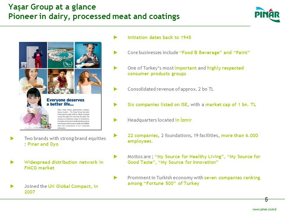 Yaşar Group at a glance Pioneer in dairy, processed meat and coatings