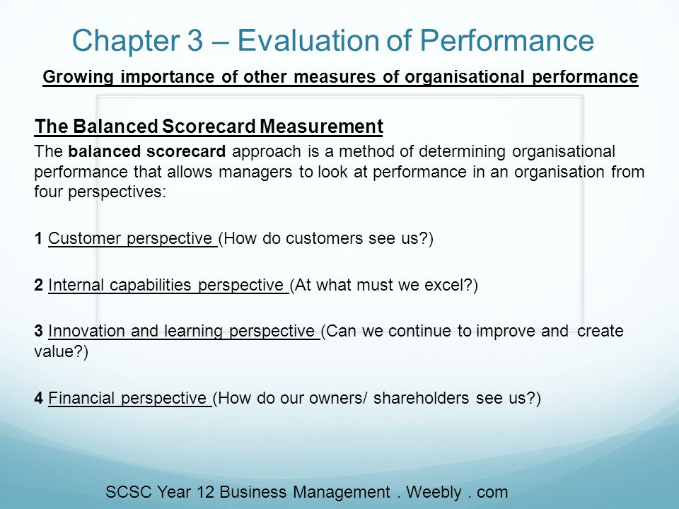 Evaluation and control metrics and methodology to measure performance