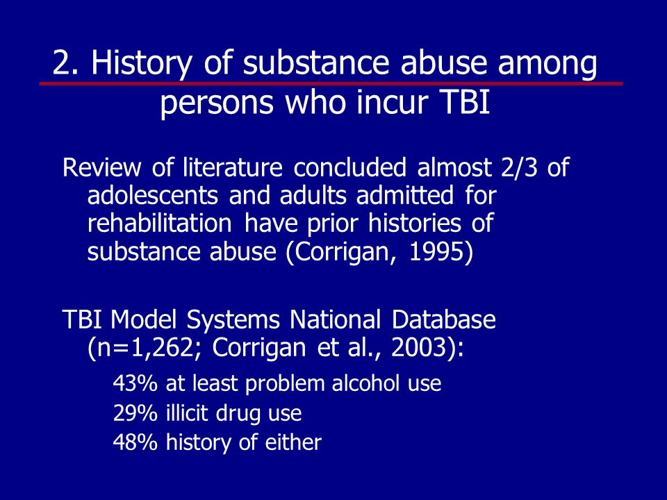 history of drug and alcohol abuse Drug and alcohol abuse or misuse—excessive or inappropriate use of a  a  family history of substance abuse can make a person more.