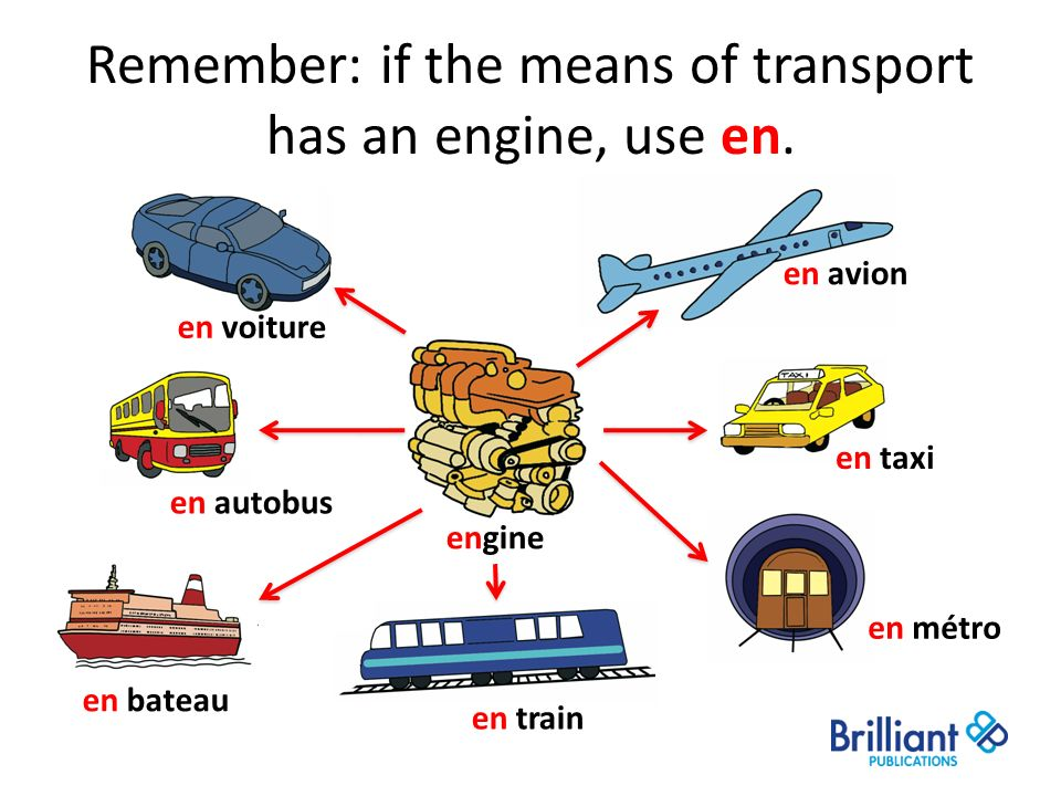 Remember: if the means of transport has an engine, use en.
