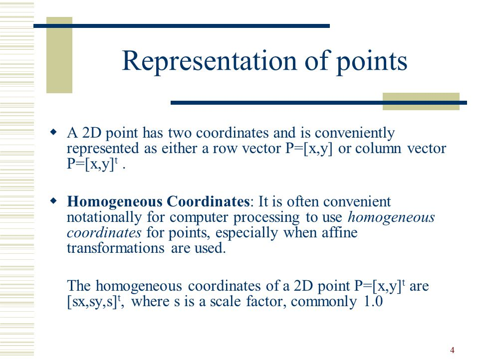 Representation of points
