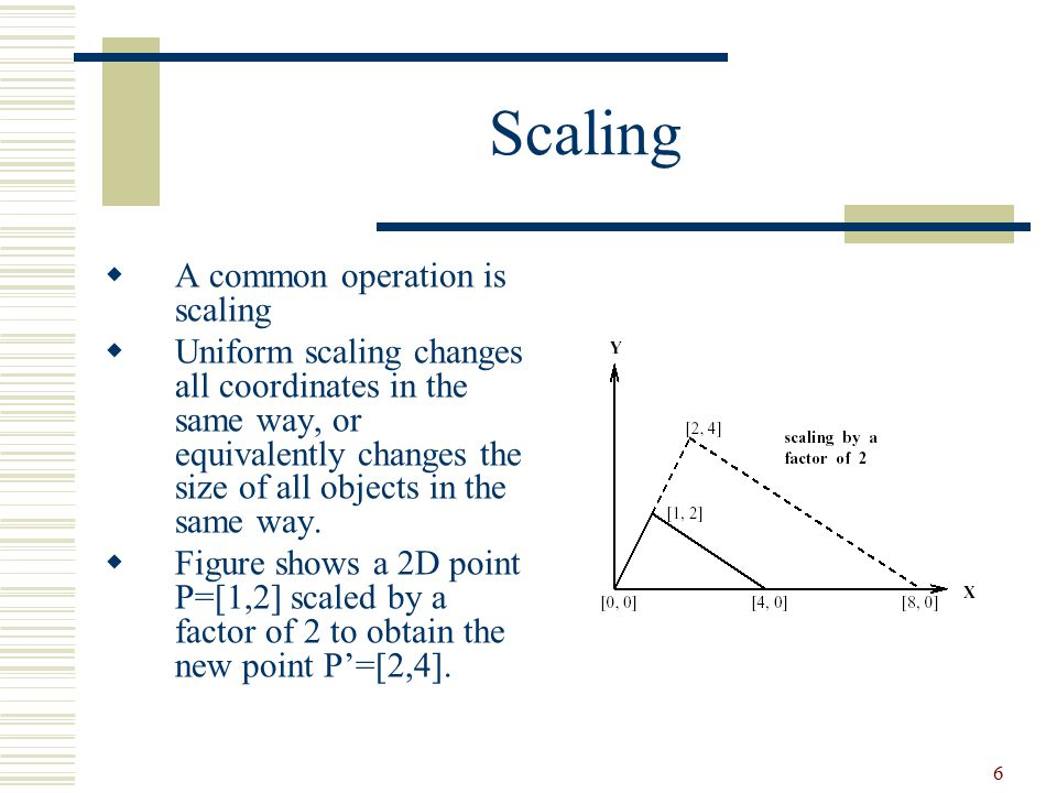 Scaling A common operation is scaling