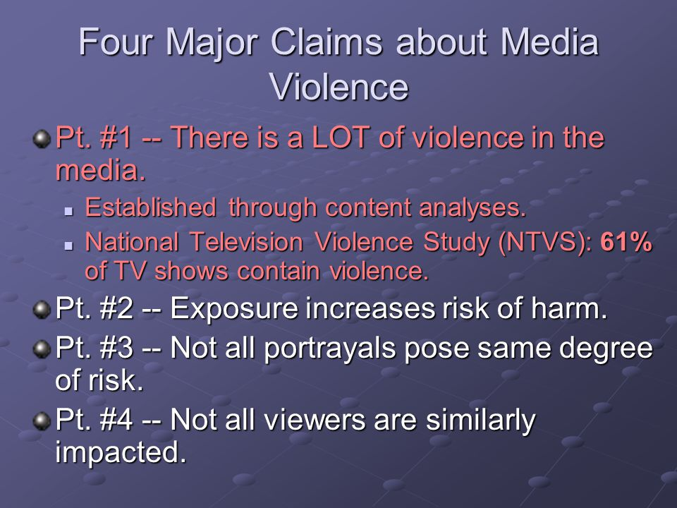 an analysis of the television violence Violence on television presents a quantitative analysis of the amount of violence on british television, placing great emphasis on investigating the character of violent portrayals and the.