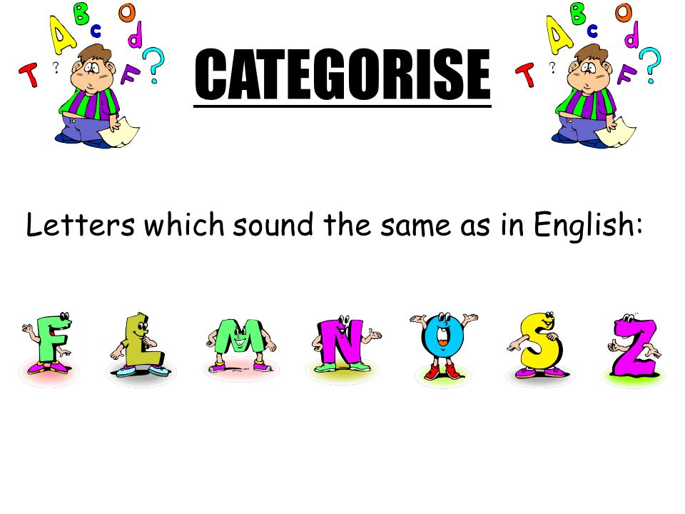 CATEGORISE Letters which sound the same as in English: