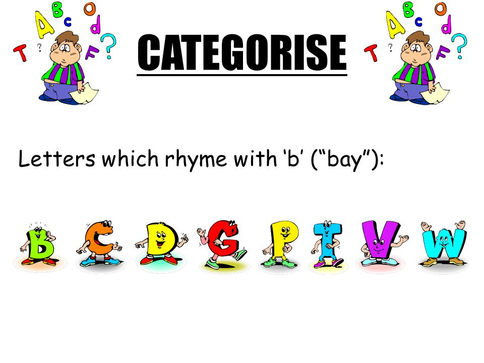 CATEGORISE Letters which rhyme with 'b' ( bay ):