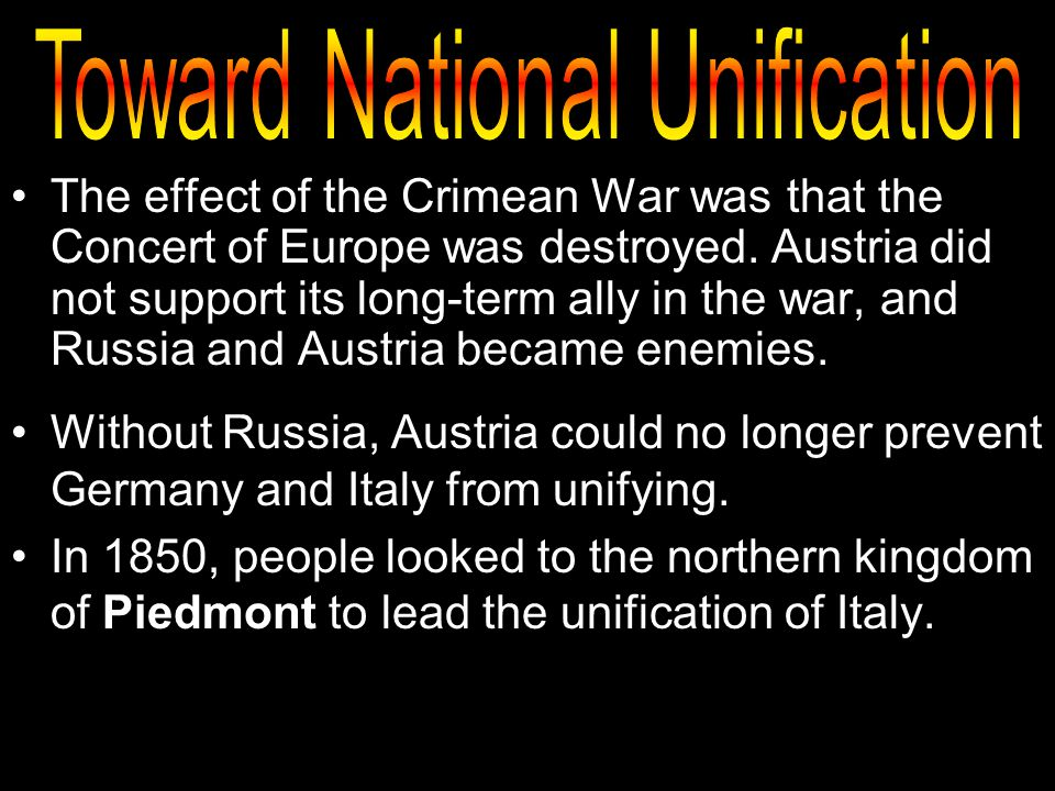 the effects of the german unification on russia The important thing to remember here is that german unification was the direct causes & effects 7:50 the franco-prussian war & the unification of germany.