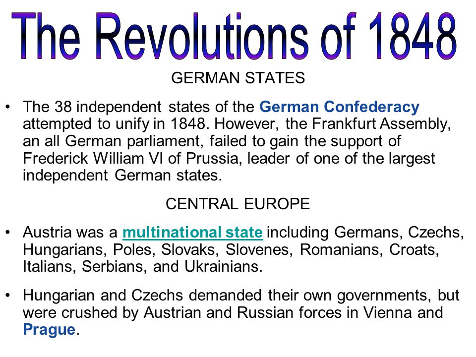 the german revolutions of 1848 essay 2012-7-19 failure of the 1848 revolutions  • so by 1849 the revolutions and the unified german parliament at  growth of nationalism 1815-1860 - essay outlinesdoc.