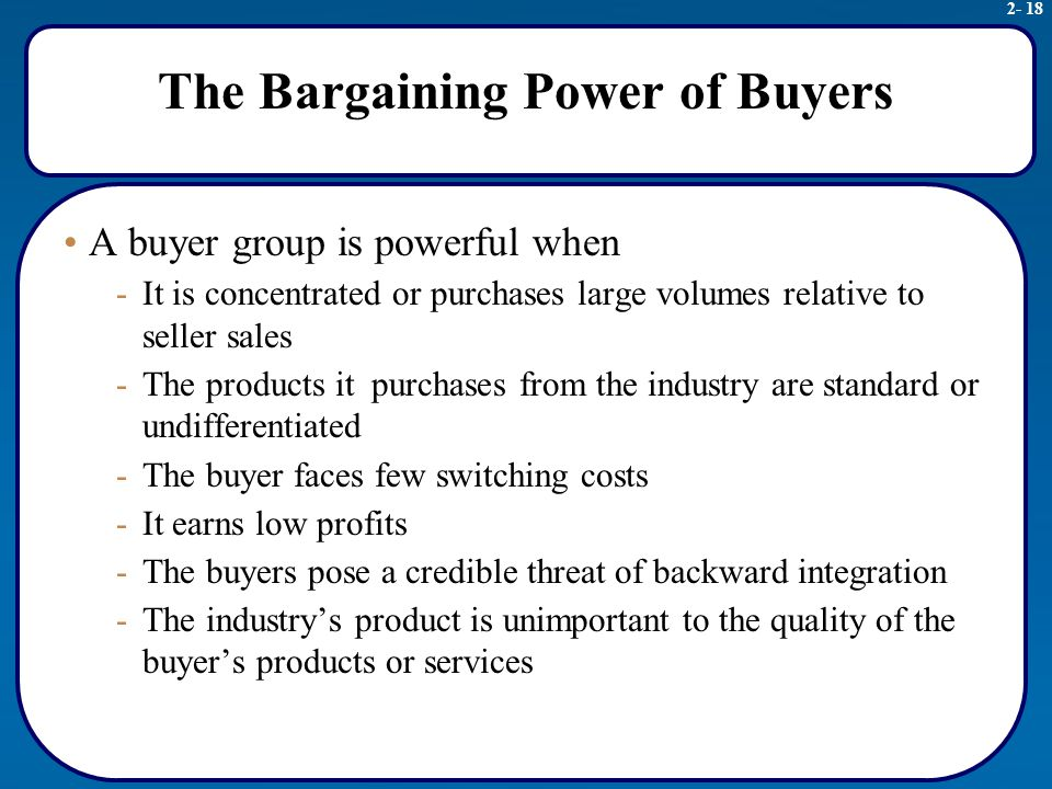 bargaining power of buyers coffee industry Buyers' alliances for bargaining power  in buyer size can increase buyer's bargaining power  effects of industry-wide unions and employers.