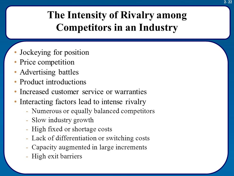 intensity of competitive rivalry marketing essay Since its introduction in 1979, porter's five forces has become the de facto framework for industry analysis  competitive rivalry among existing firms:.