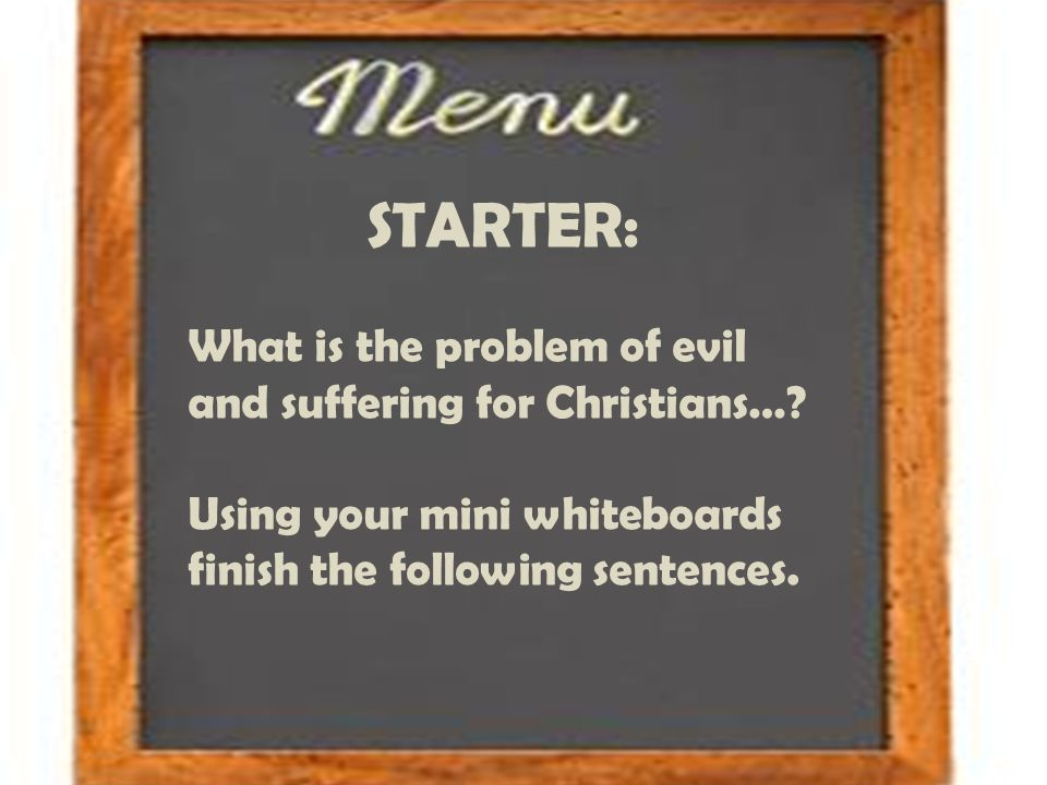 what is the problem of evil So, while the problem of evil and suffering is a serious problem, it certainly isn't sufficient cause for unbelief or rebellion against god instead, it should drive us to god, humbly asking for his will to be done on earth as it is in heaven (matthew 6:10).