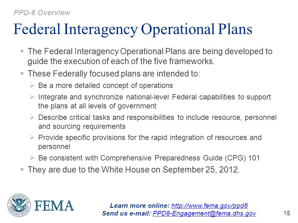 Federal Interagency Operational Plans