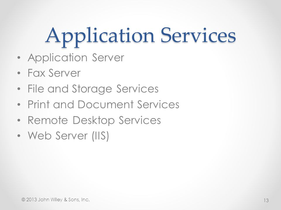 Application Services Application Server Fax Server