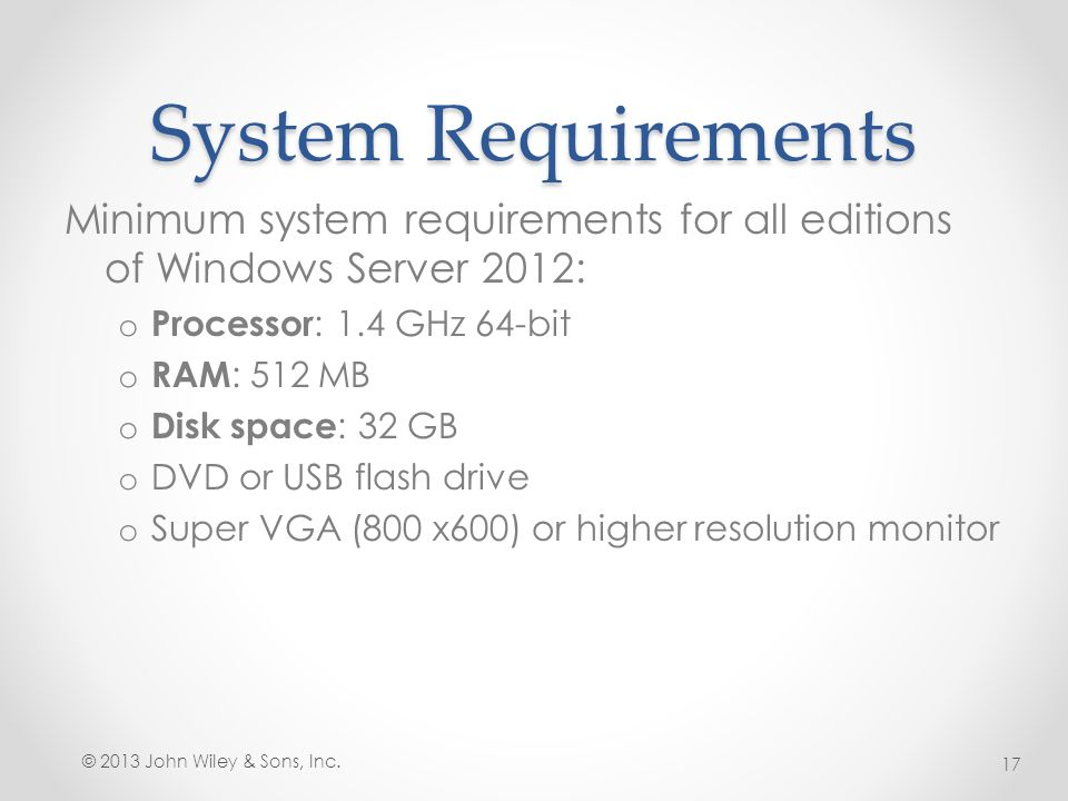 System Requirements Minimum system requirements for all editions of Windows Server 2012: Processor: 1.4 GHz 64-bit.