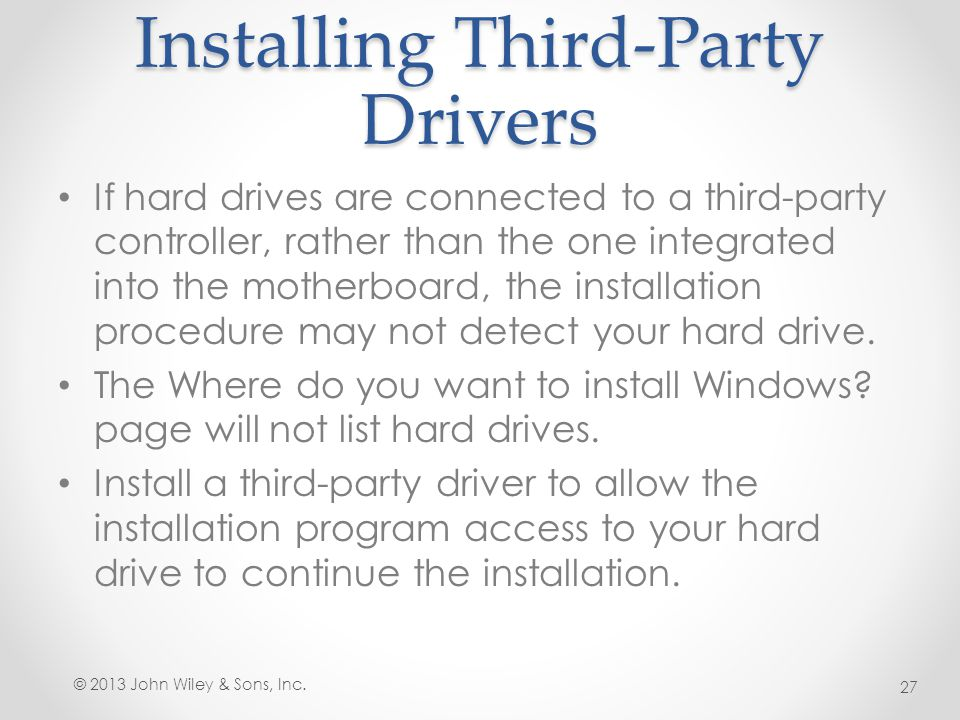 Installing Third-Party Drivers
