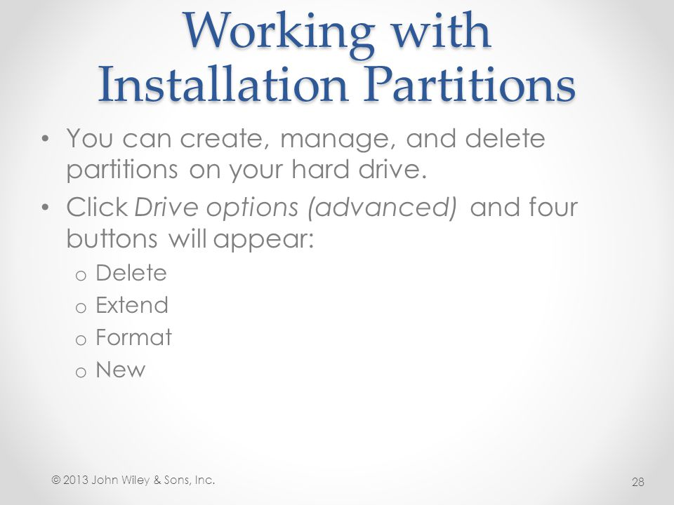 Working with Installation Partitions