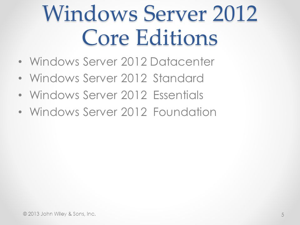 Windows Server 2012 Core Editions