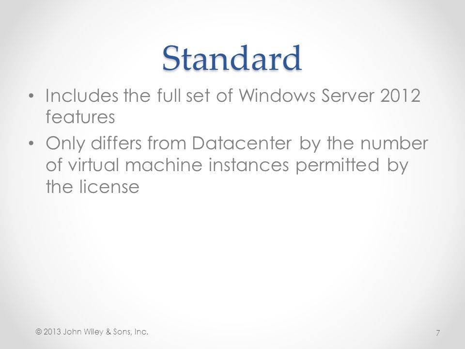 Standard Includes the full set of Windows Server 2012 features