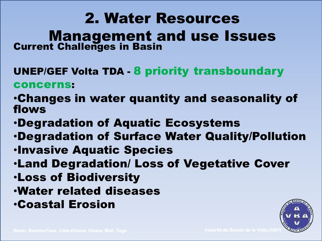 2. Water Resources Management and use Issues
