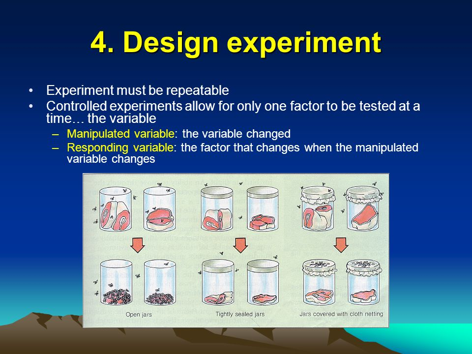 4. Design experiment Experiment must be repeatable