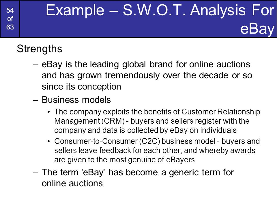 "ebay business analysis Ebay inc, once a scrappy auction site for mom and pop sellers, is enticing some of the world's largest retailers by arguing it can help them compete better against ""when you partner with amazon, they are looking at your data, learning your business and have ambition to get into every category."