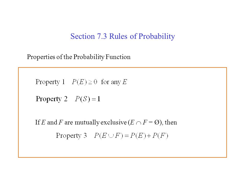 Section 7.3 Rules of Probability
