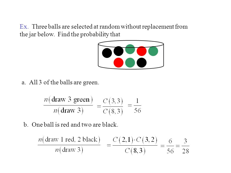Ex. Three balls are selected at random without replacement from the jar below. Find the probability that