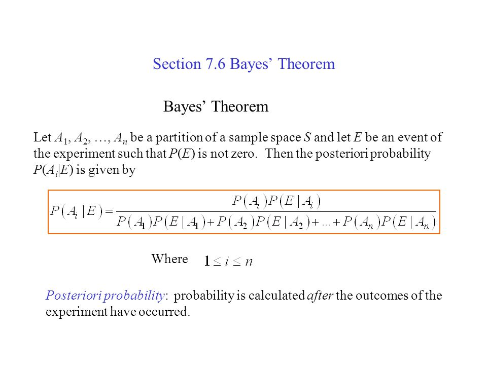 Section 7.6 Bayes' Theorem