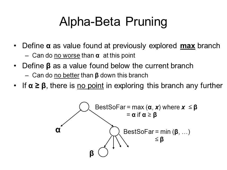 Alpha-Beta Pruning Define α as value found at previously explored max branch. Can do no worse than α at this point.