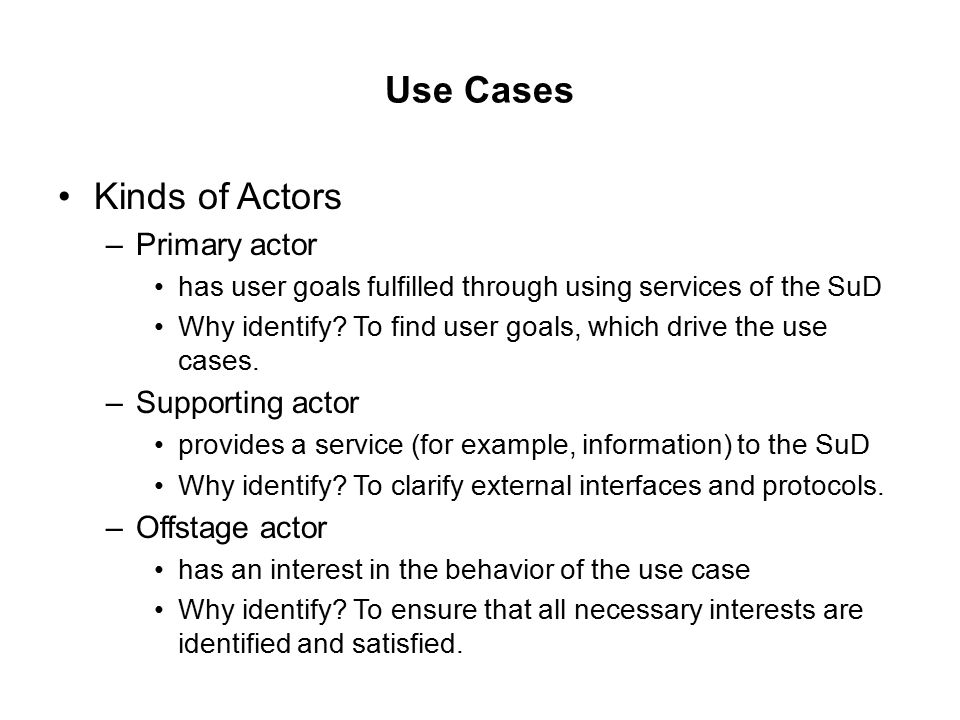 Use Cases Kinds of Actors Primary actor Supporting actor