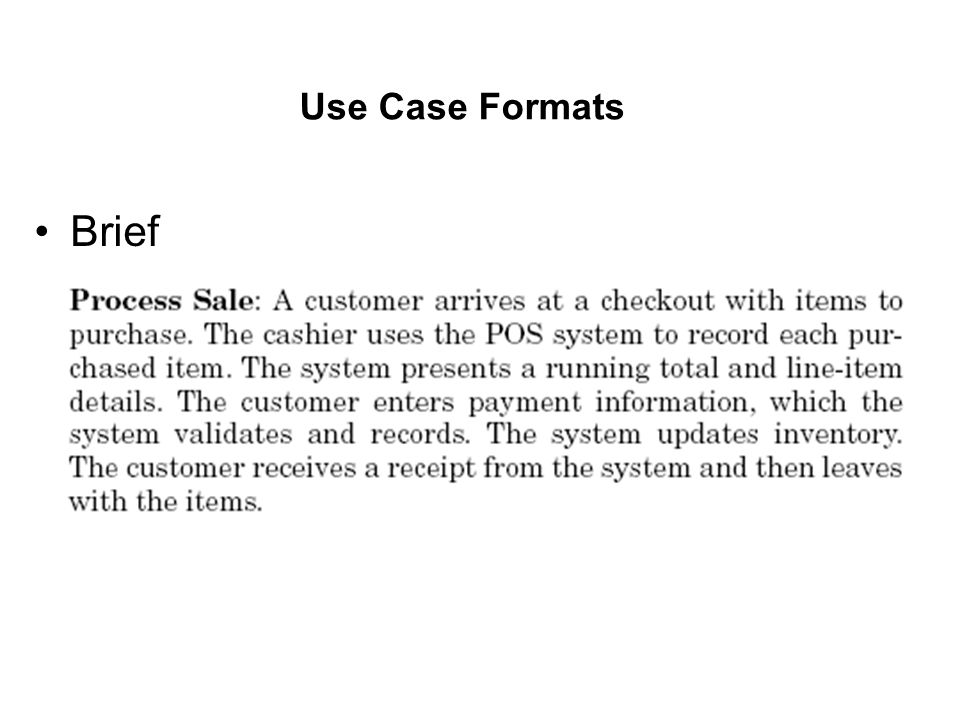 Use Case Formats Brief