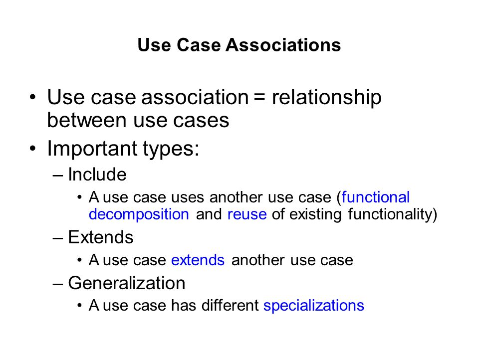 Use case association = relationship between use cases Important types: