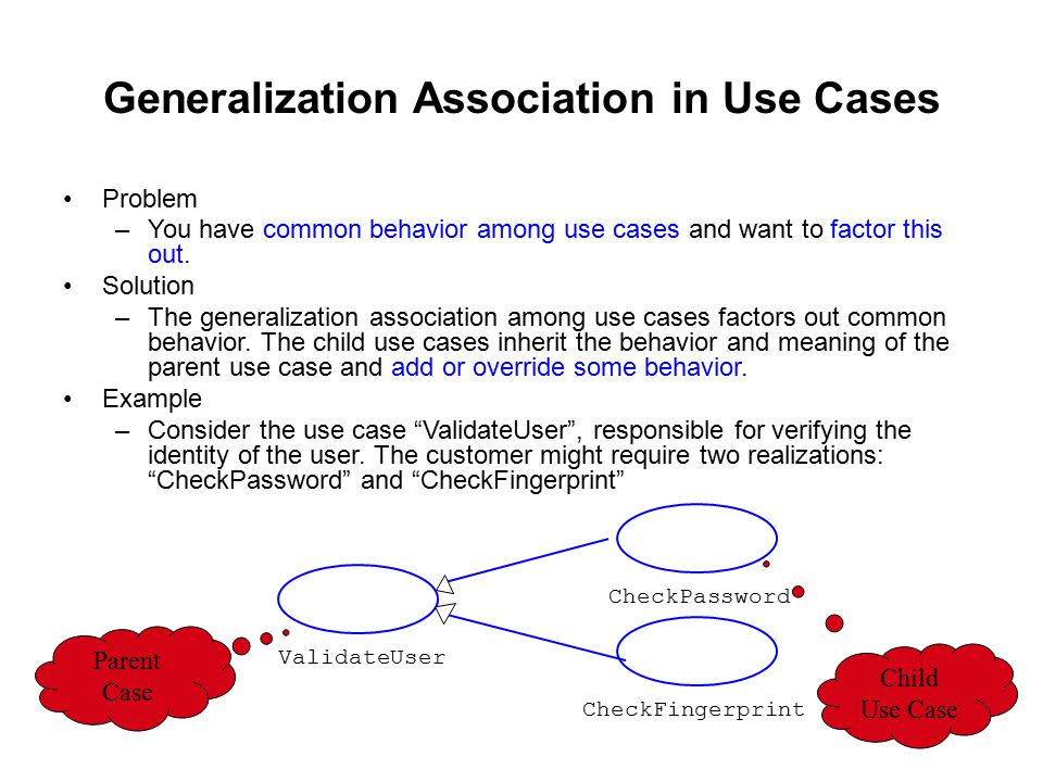 Generalization Association in Use Cases