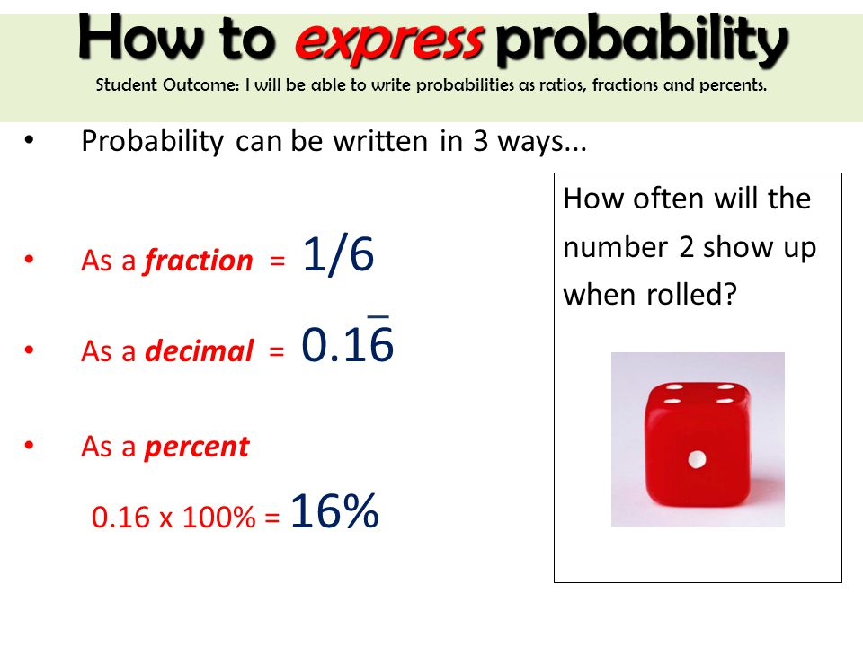 Probability What Is The Probability Of Rolling The Number