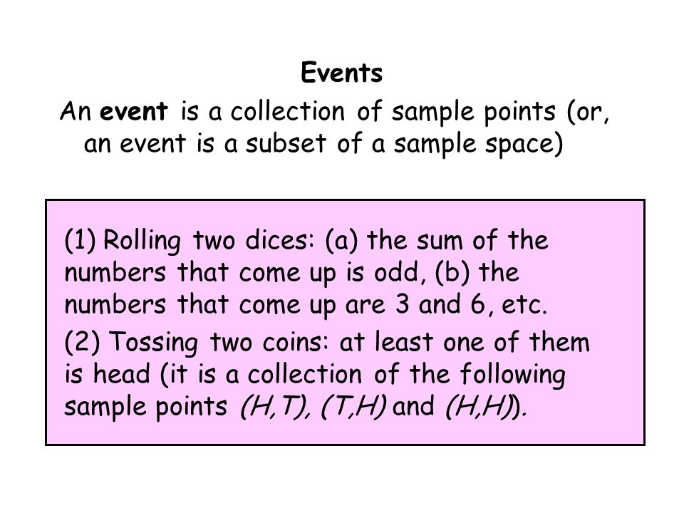Events An event is a collection of sample points (or, an event is a subset of a sample space)