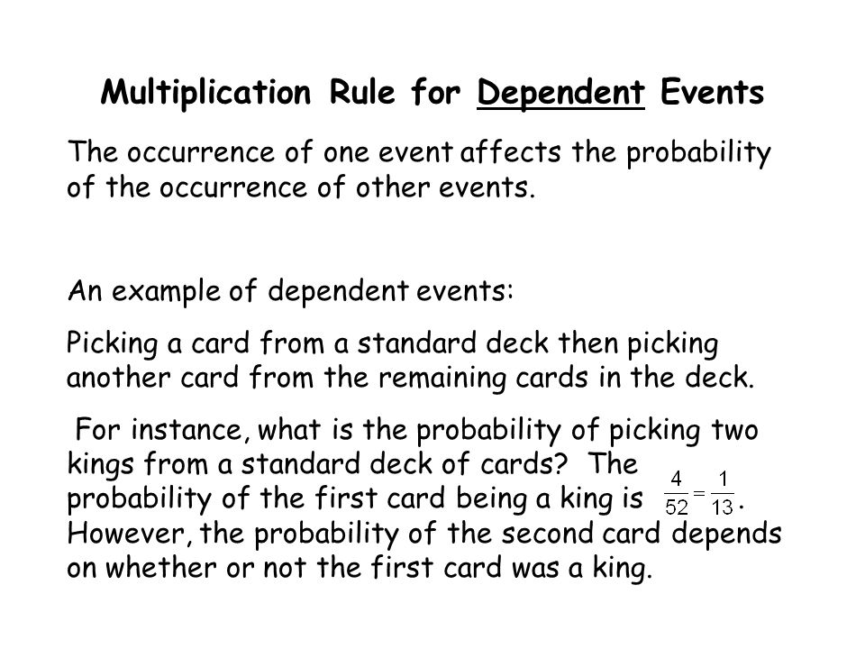 Multiplication Rule for Dependent Events