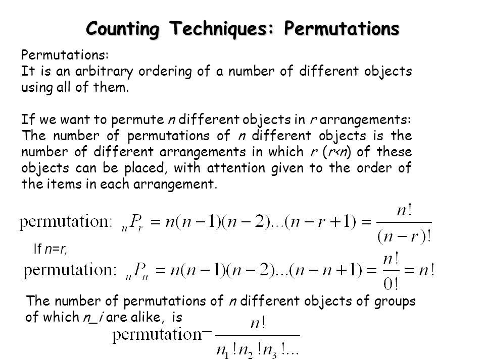 Counting Techniques: Permutations
