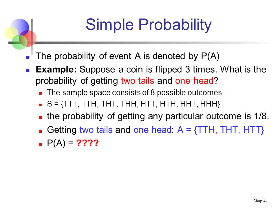 Simple Probability The probability of event A is denoted by P(A)